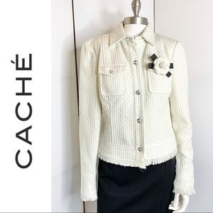 Vintage Cache Trimmed Ivory Sparkly Woven Jacket